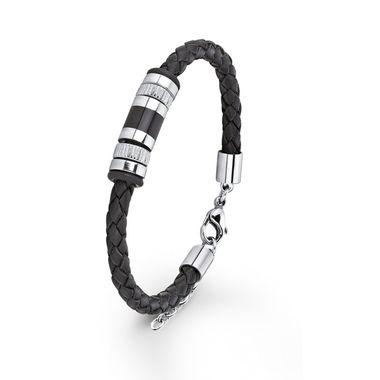 s.Oliver Jewel Herren Armband Leder Edelstahl SO689/1 - 9067015