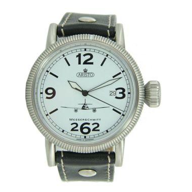Aristo Herren Messerschmitt Uhr Fliegeruhr ME 262 Weiße 3H262-3