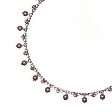 Konplott Halskette Pearl Shadow beige Kristall goldener Schatten