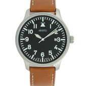 Aristo Herren Uhr Armbanduhr Fliegeruhr Quarz Edelstahl 3H84