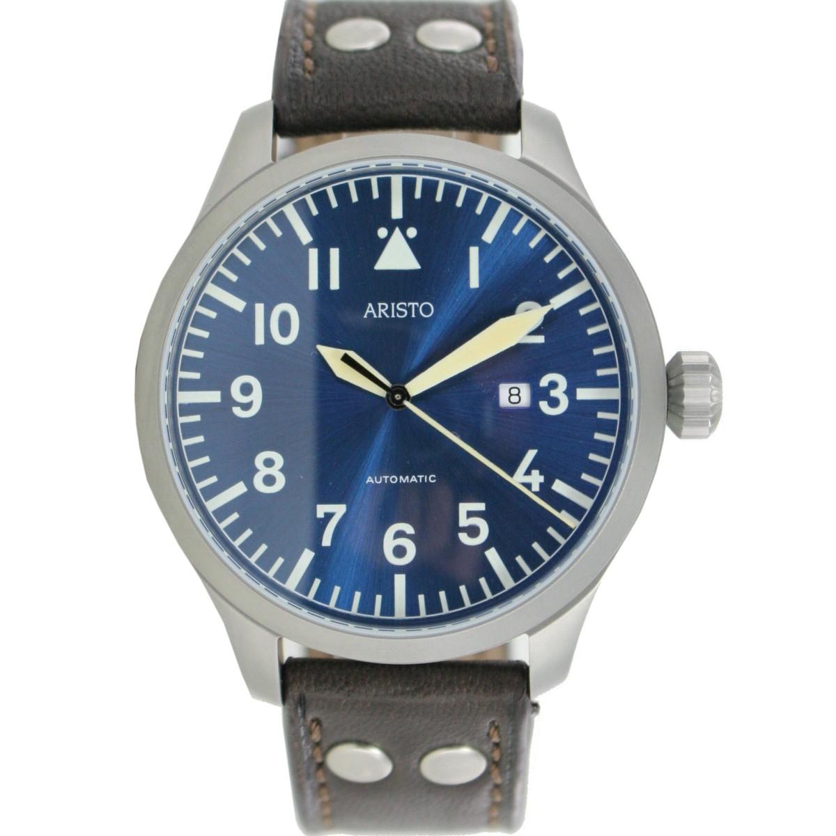aristo herren uhr armbanduhr automatic blaue 47 beobachter 3h159 leder. Black Bedroom Furniture Sets. Home Design Ideas