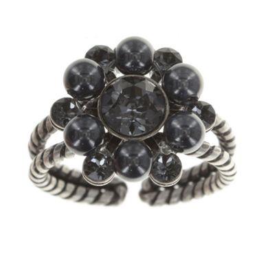 Konplott Ring Dutchess black crystal silver night silber