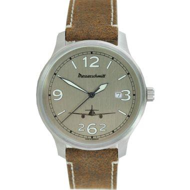 Aristo Herren Messerschmitt Uhr Fliegeruhr ME42-ALU-L Leder