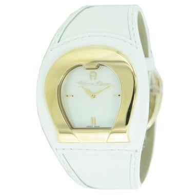 Aigner Damen Uhr Armbanduhr Lederband weiss A41202