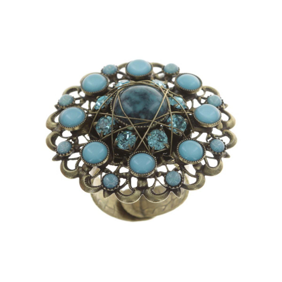 Konplott Ring Enchanted blue antique brass XXL