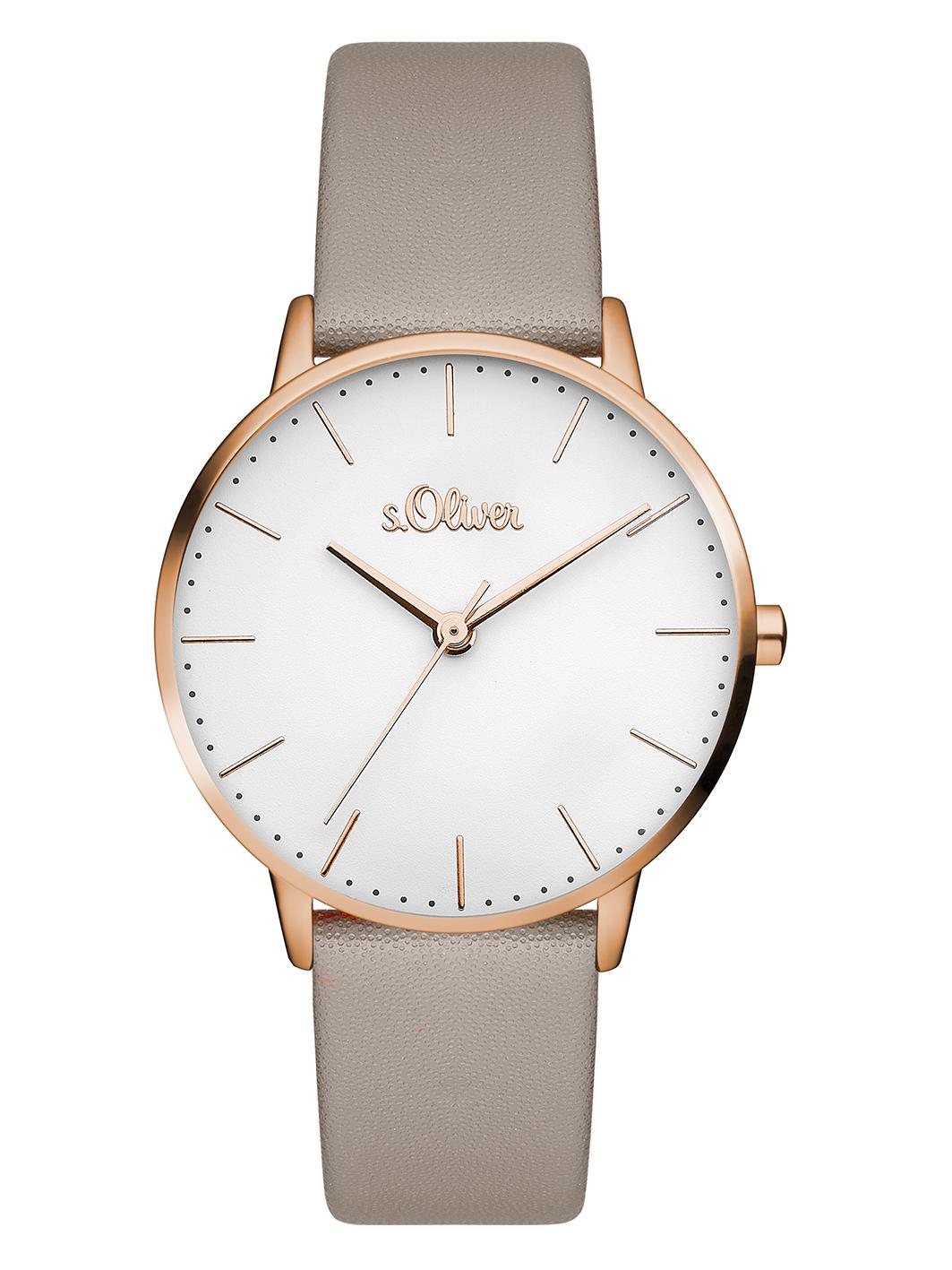 s.Oliver Damen Uhr Armbanduhr Leder SO-3333-LQ