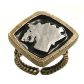 Konplott Ring Zodiac Leo/Löwe black antique brass