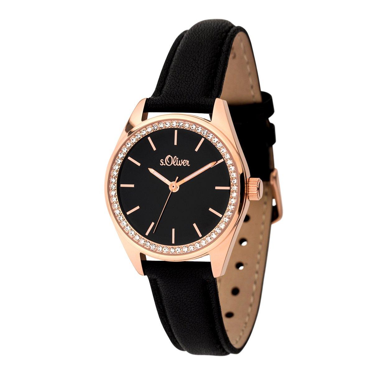s.Oliver Damen Uhr Armbanduhr Leder SO-3390-LQ