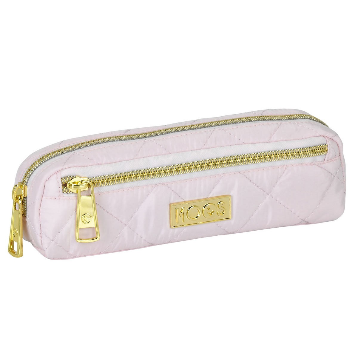 Moos Quilted Pink Oval Pencil Case