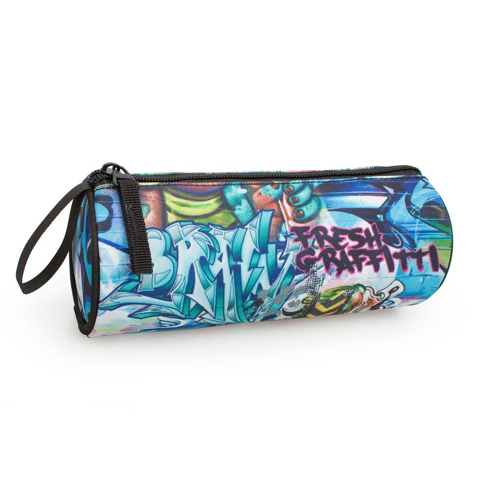 Delbag Pencil Case Round  Blue Fresh Graffiti – image 2