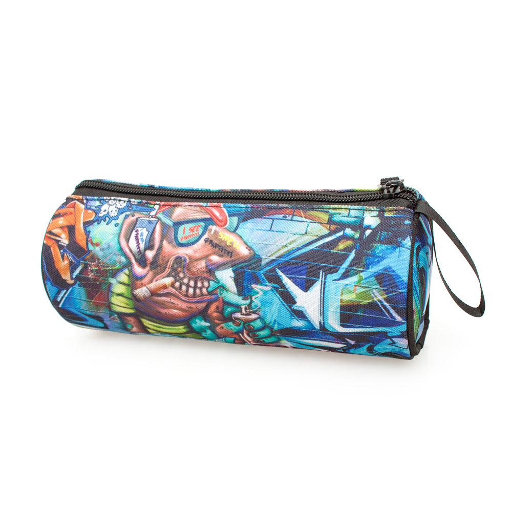 Delbag Pencil Case Round  Blue Fresh Graffiti – image 3
