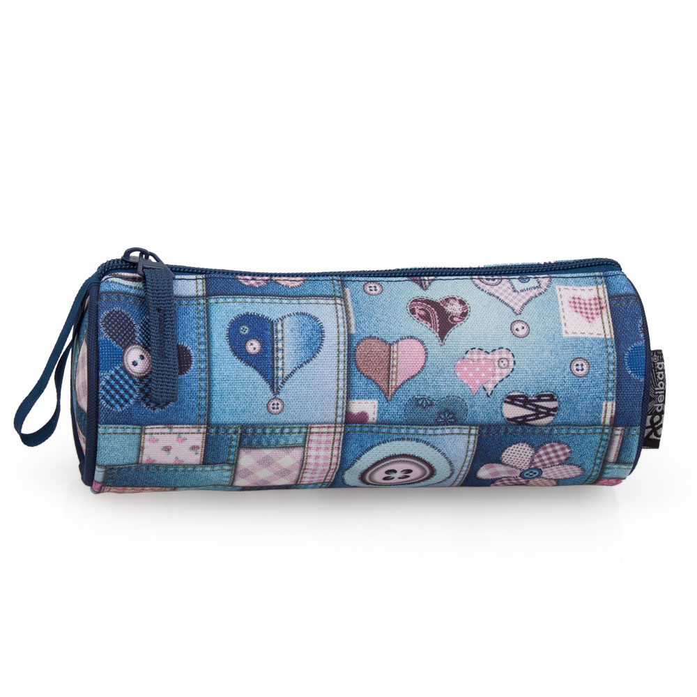 Delbag  Pencil Case Round  Denim Hearts & Flowers