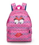 Delbag  Pink Backpack  Faces Lip Bite 001