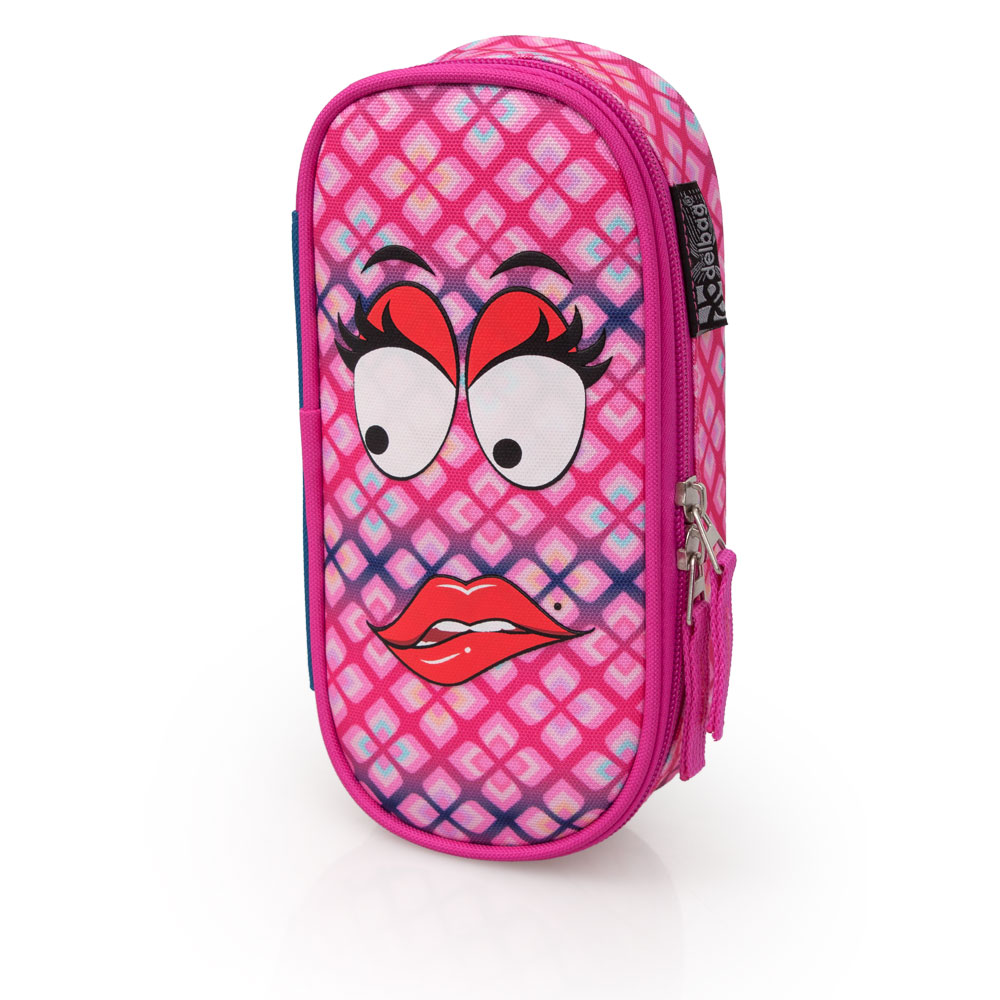 Delbag  Pink Pencil Case Oval  Faces Lip Bite – image 2