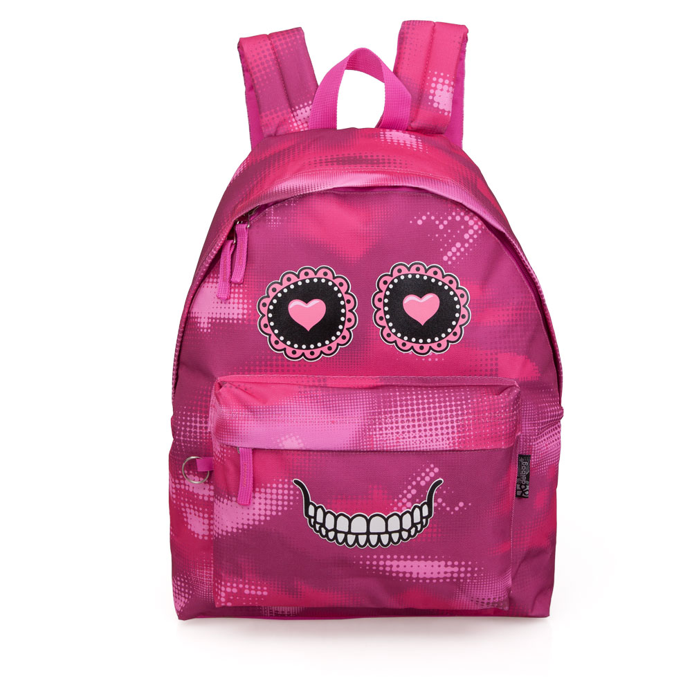 Delbag Pink Backpack  Faces Skull