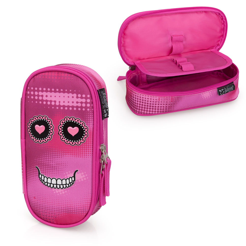 Delbag  Pink Pencil Case Oval  Faces Skull – image 1