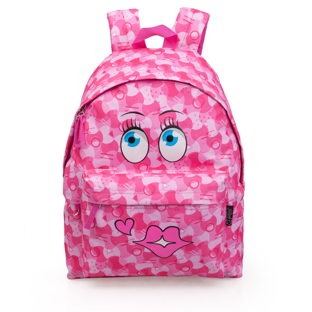 Delbag  Pink Backpack  Faces Kiss