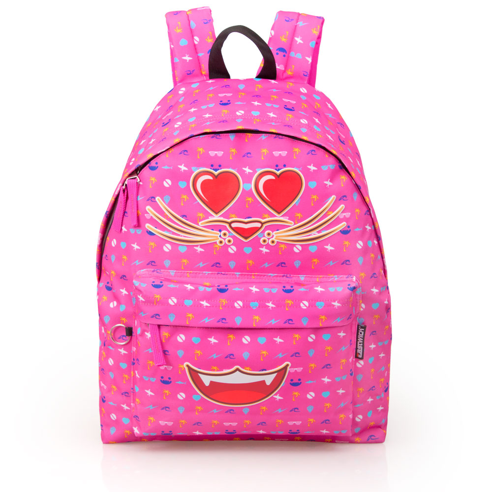 Eastwick Pink Backpack  Faces Smile Cat