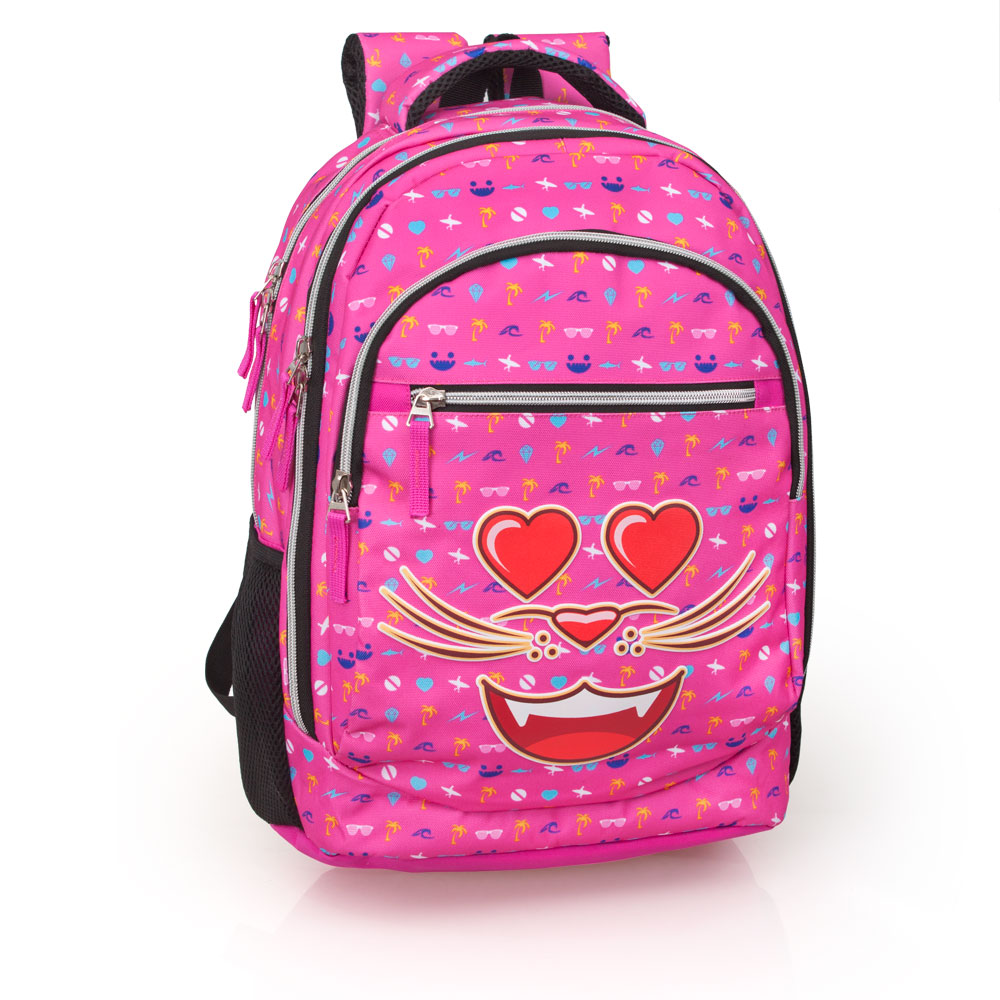 Eastwick Pink Laptop Backpack 3 Zip  Faces Smile Cats