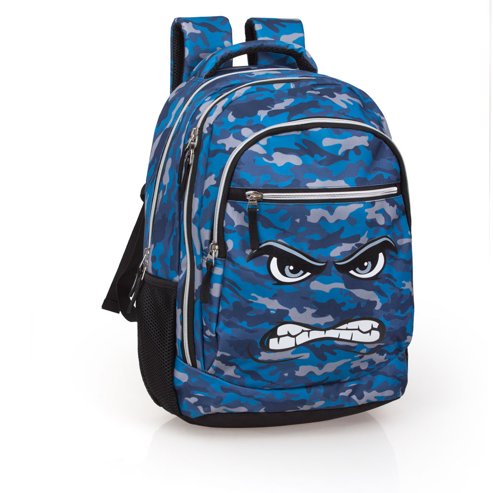 Eastwick Blue Camouflage Laptop Backpack 3 Zip  Faces Angry – image 1