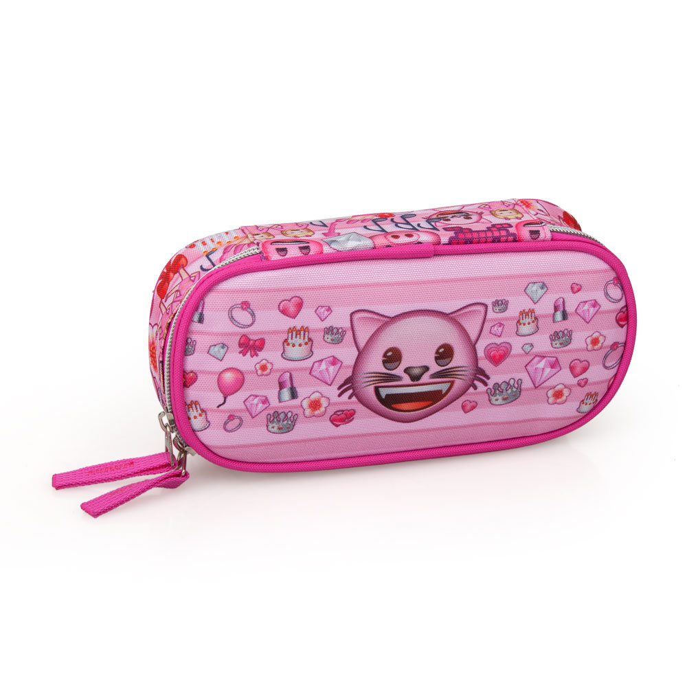 EMOJI Premium Pencil Case Oval  Pink Cat – image 2