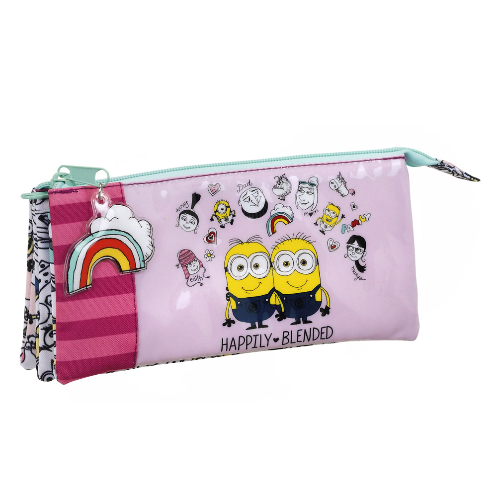 Minions Pink Triple Pencil Case – image 1