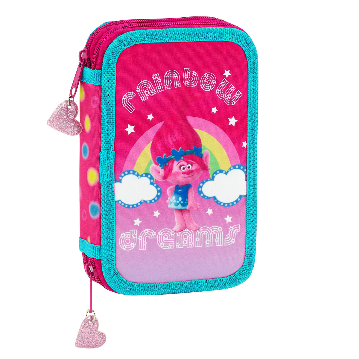 Trolls 2 Tier Pencil Case with Contents – image 1