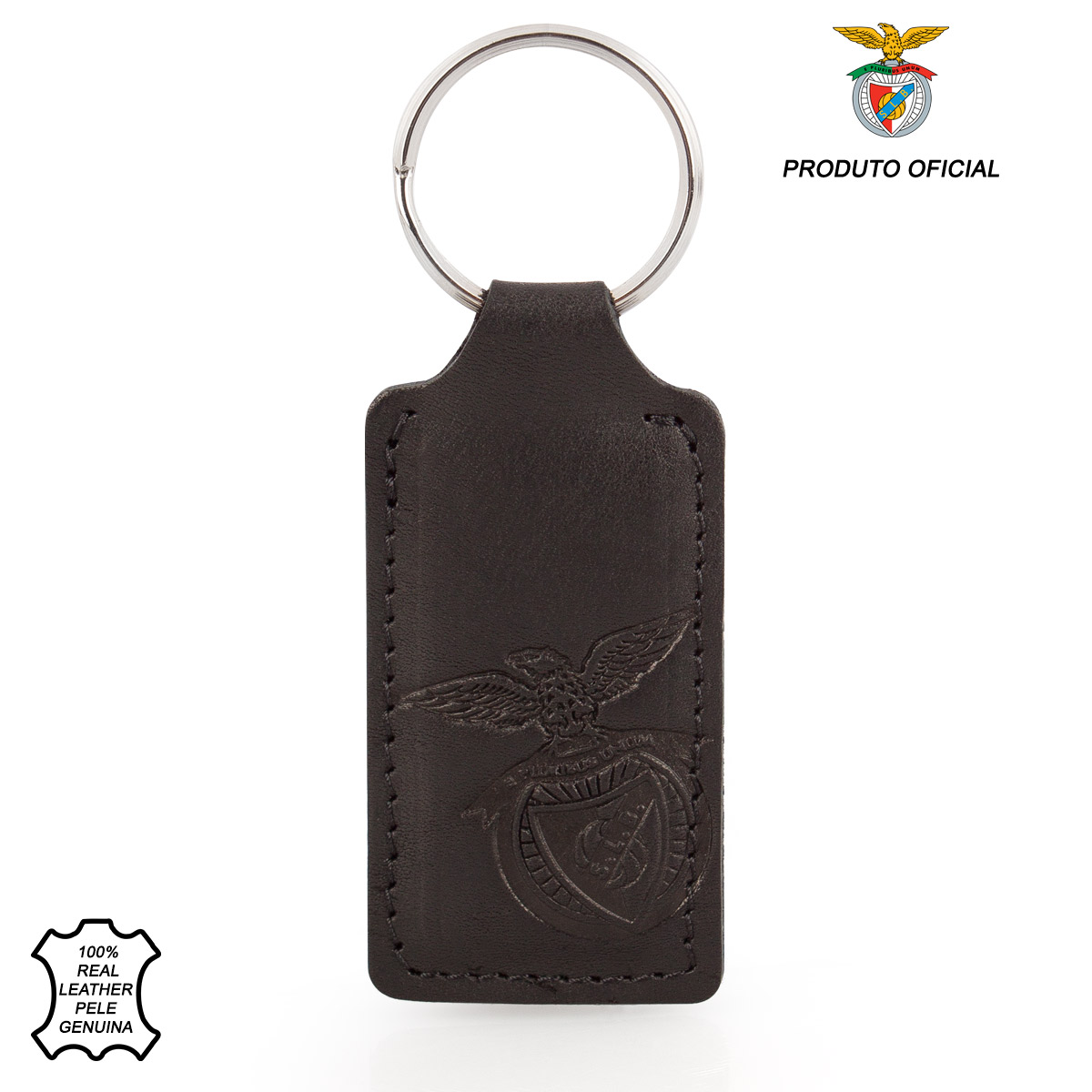 Leather Keyring Fob Rectangle S.L. BENFICA Black