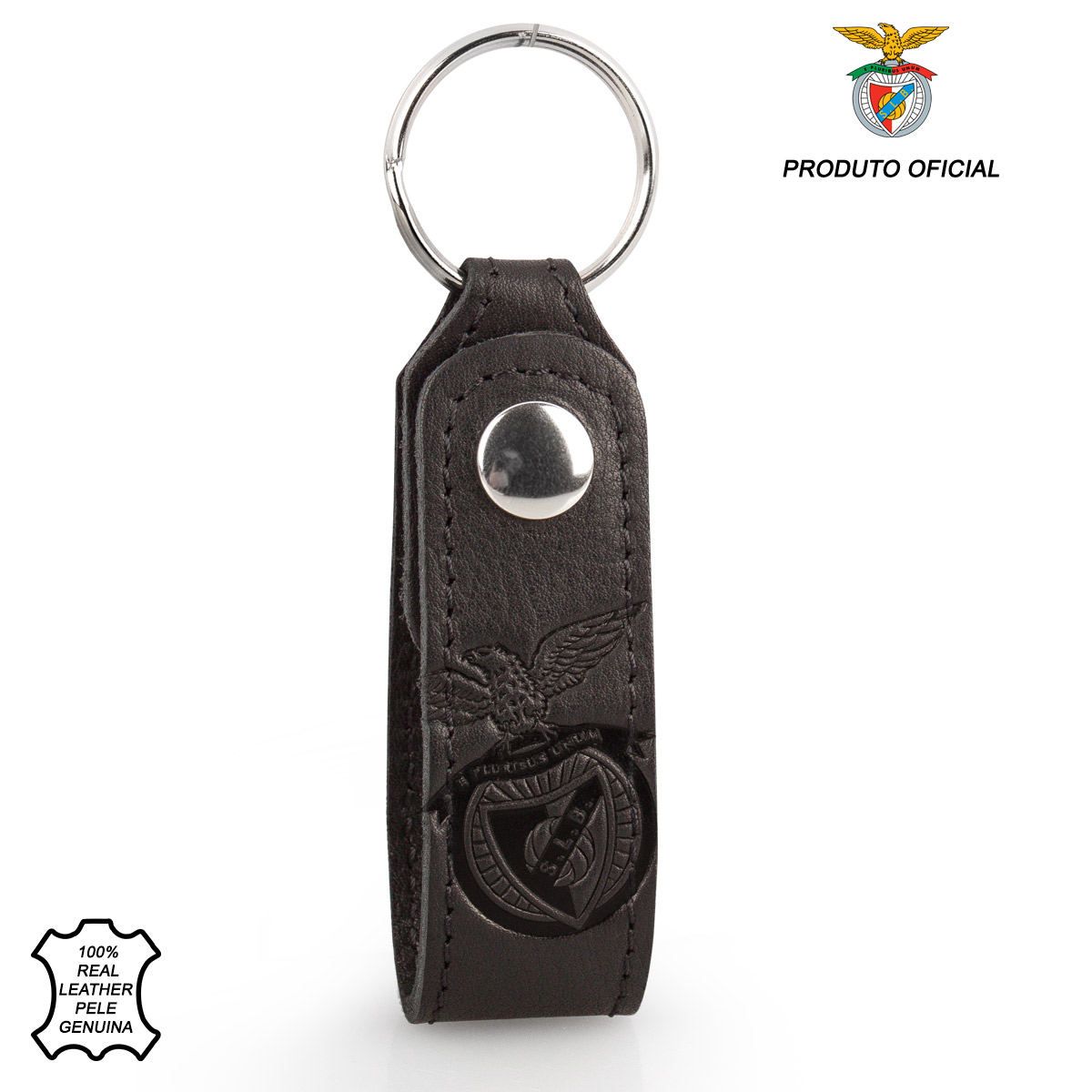 Leather Keyring Loop Tab S.L. BENFICA Black