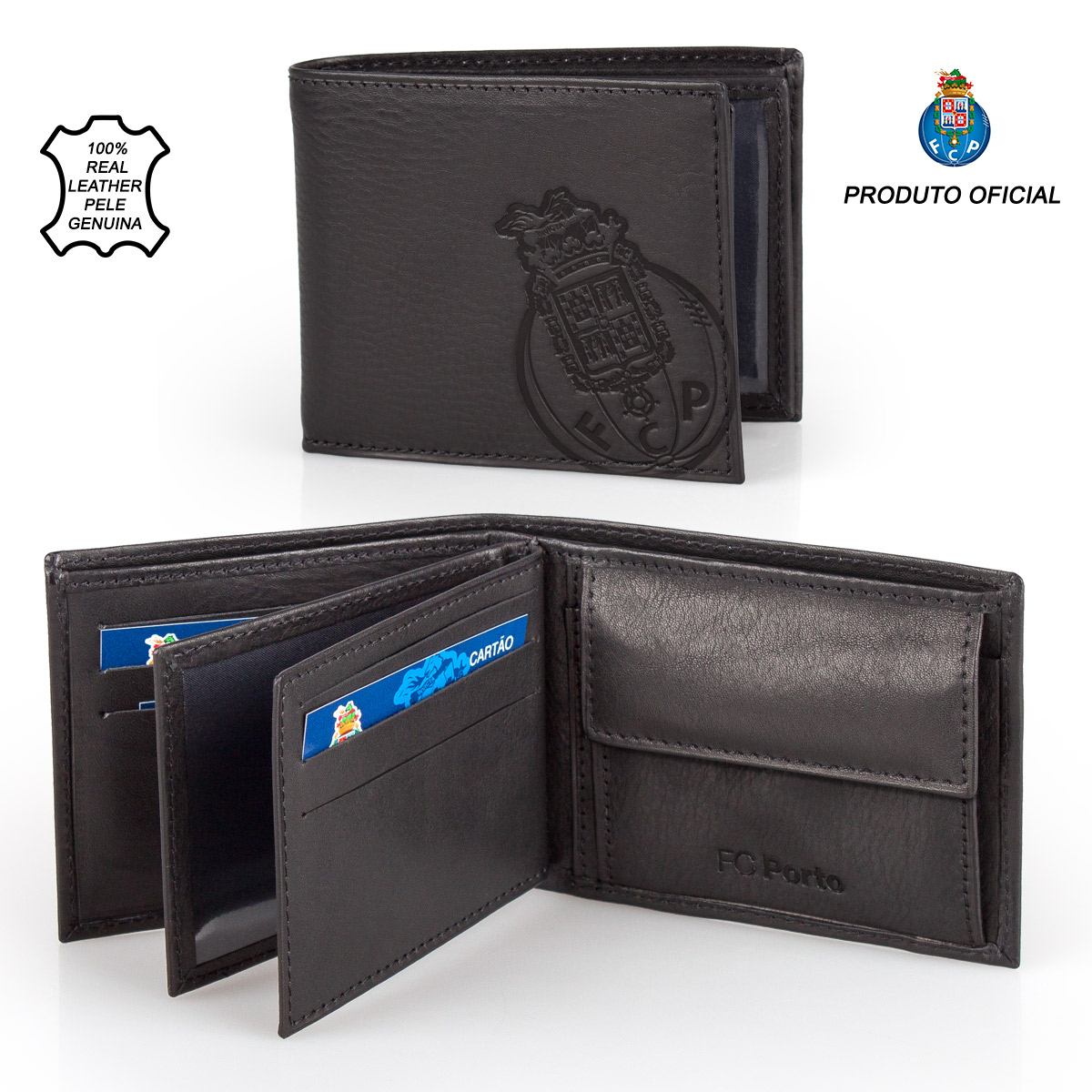 Leather Wallet F.C. PORTO Black 11.5cm – image 1