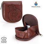 Leather Horseshoe Coin Tray Purse Zip F.C.PORTO Brown 001