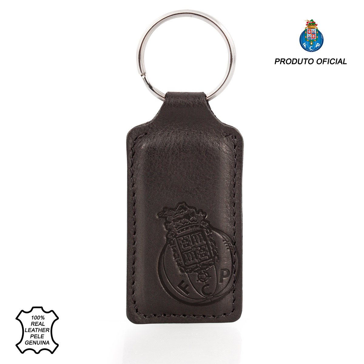 Leather Keyring Fob Rectangle F.C.PORTO Black