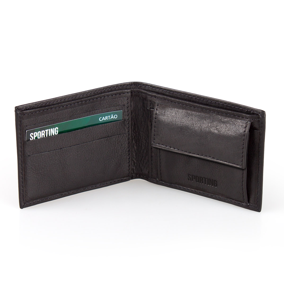 Leather Wallet SPORTING C.P. Black 10cm – image 3