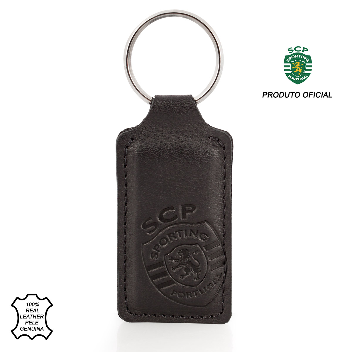 Leather Keyring Fob Rectangle SPORTING C.P. Black
