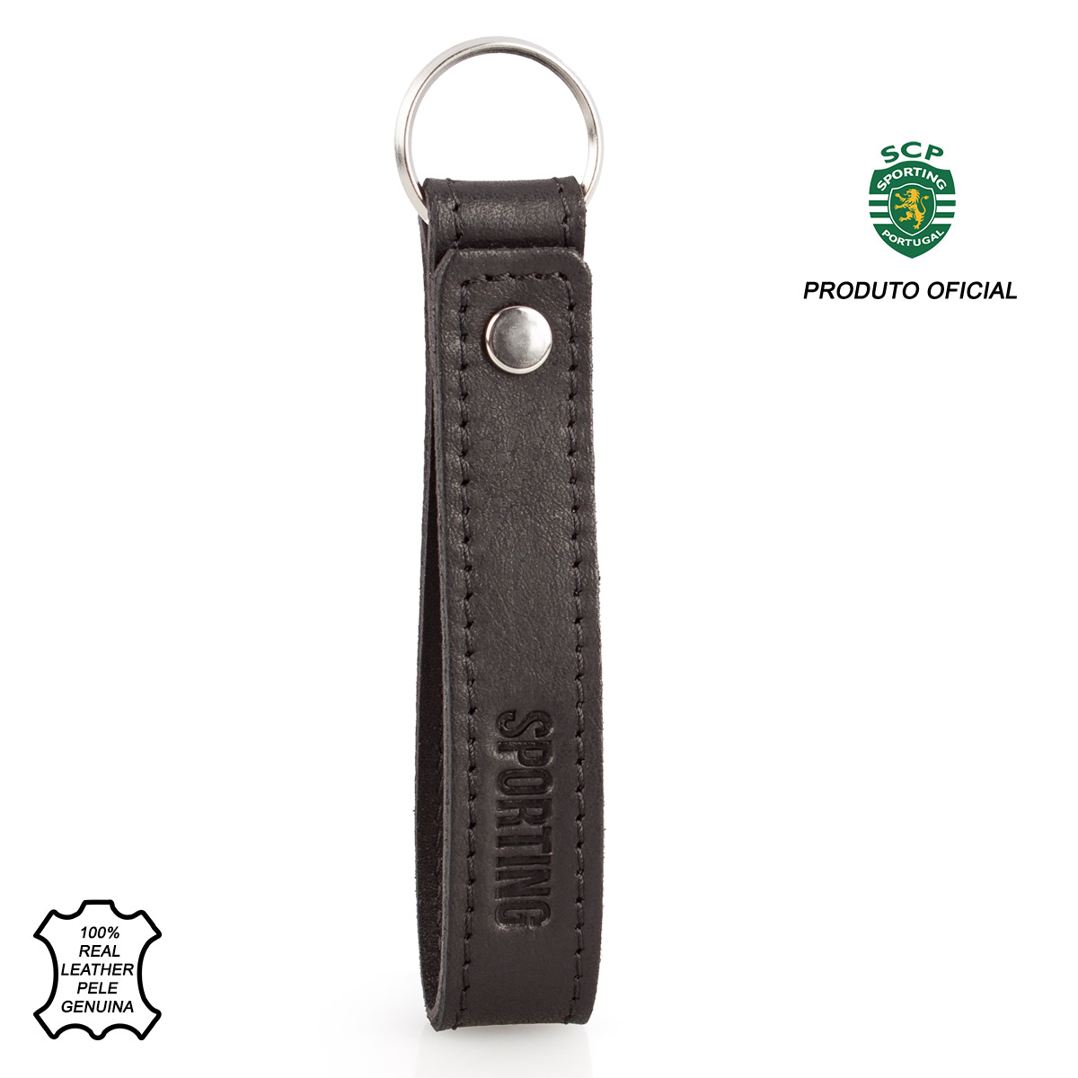 Leather Keyring Loop SPORTING C.P. Black