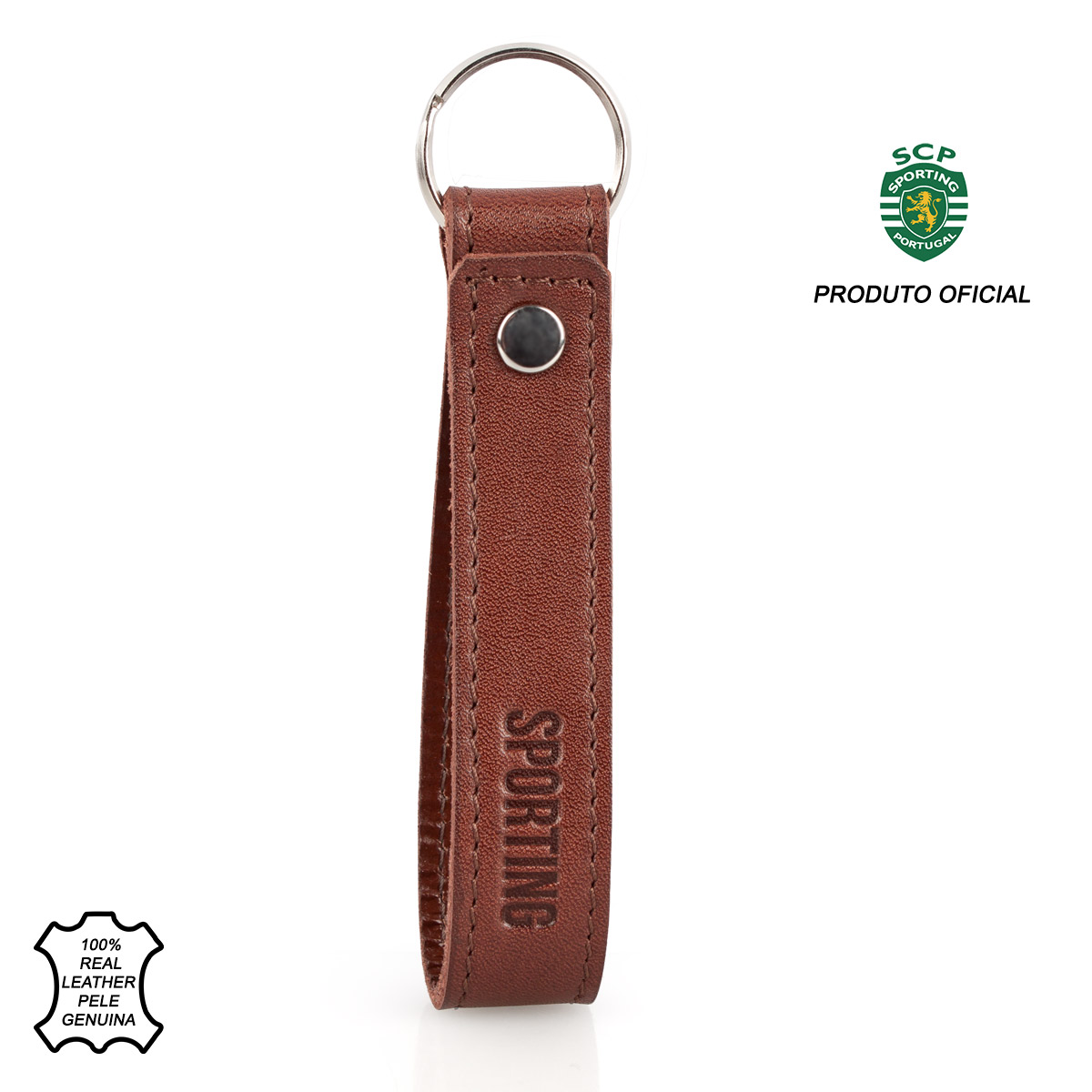 Leather Keyring Loop SPORTING C.P. Brown