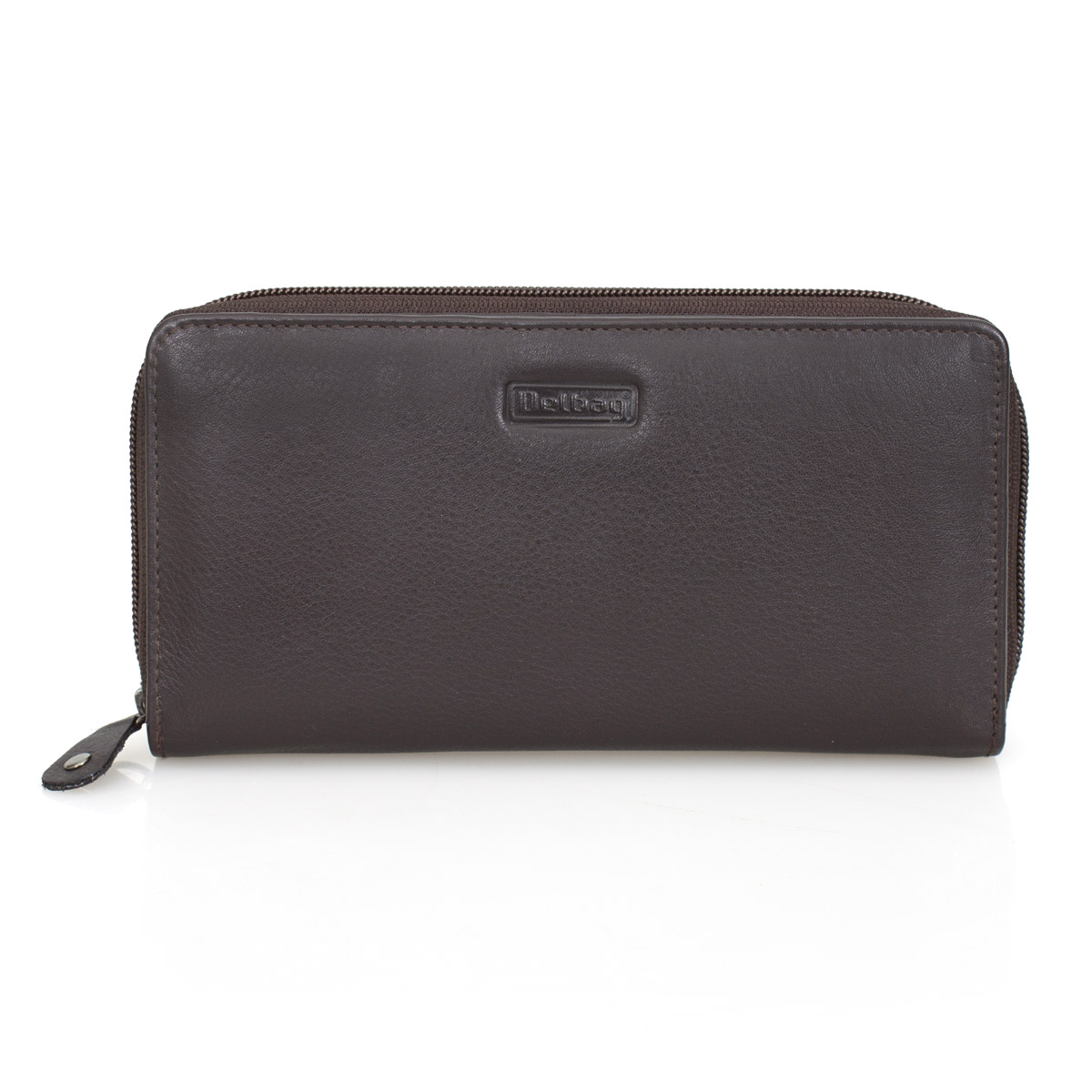 DELBAG Womens Zip Leather Wallet Large Brown