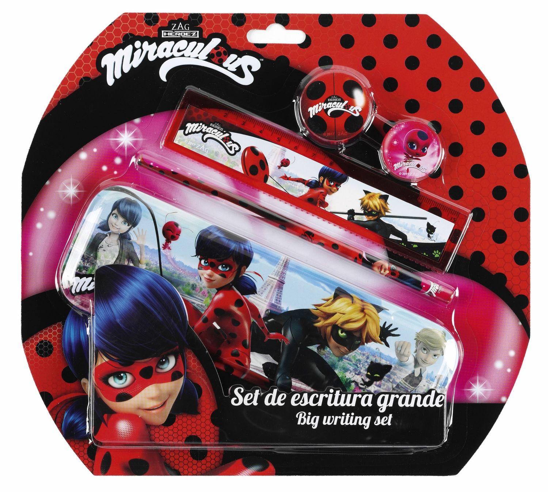 Conjunto de papelaria 5 peças Miraculous Ladybug com estojo de metal – image 1