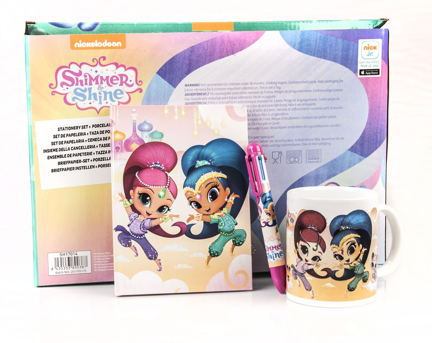 Shimmer and Shine 3 Piece Set Diary + Multi Colour Pen + Mug