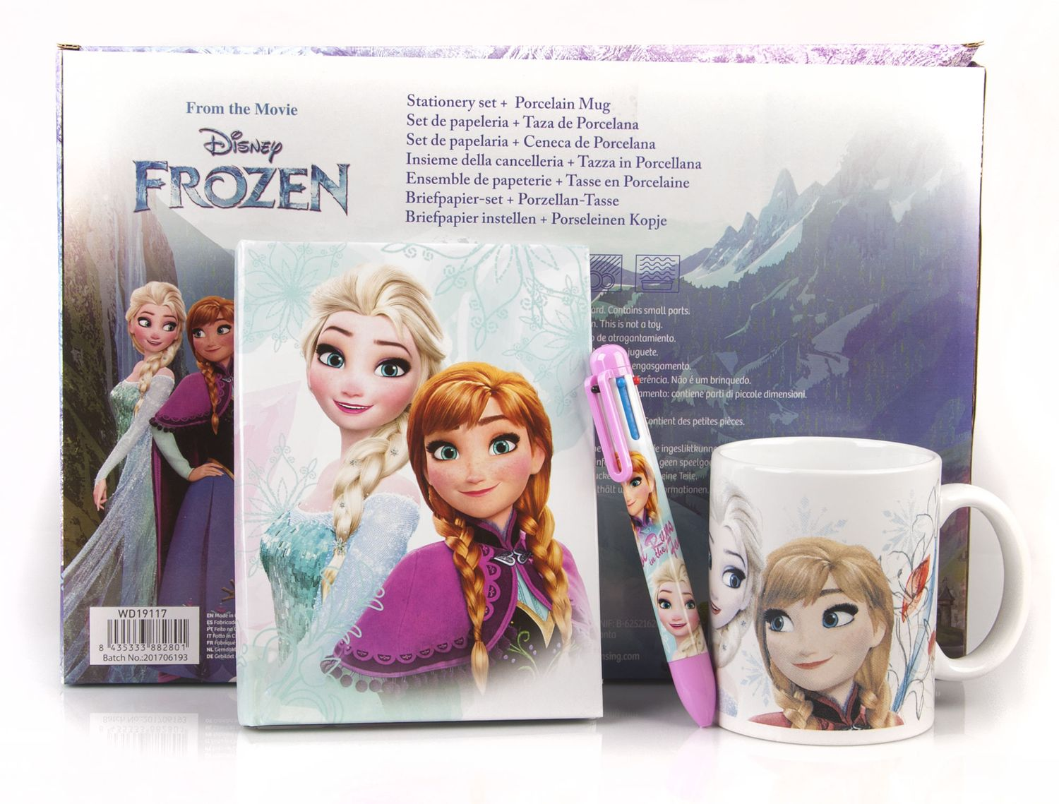 Disney FROZEN 3 Piece Set Diary + Multi Colour Pen + Mug