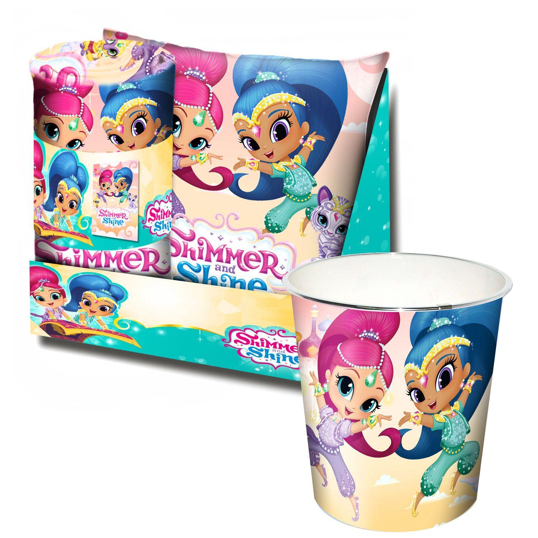 Shimmer and Shine Kids Bedroom Set Blanket Cushion and Bin
