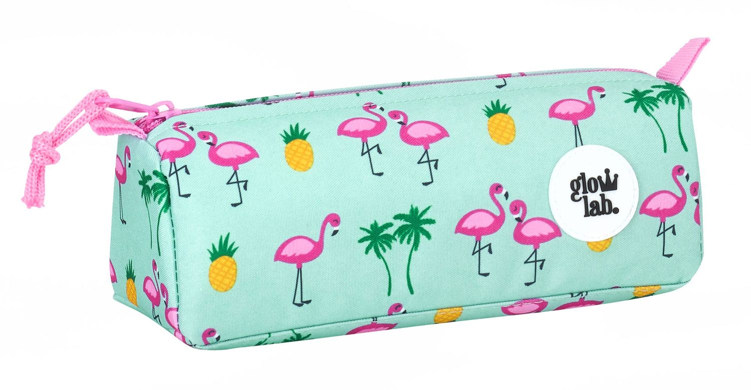 "Glowlab ""Tropic"" Pink Flamingo Square Pencil Case"