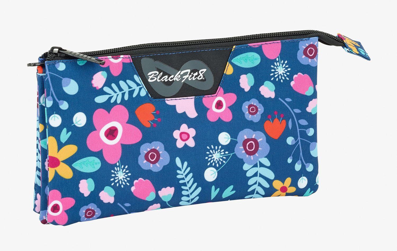 Blackfit Flowers Triple pencil case