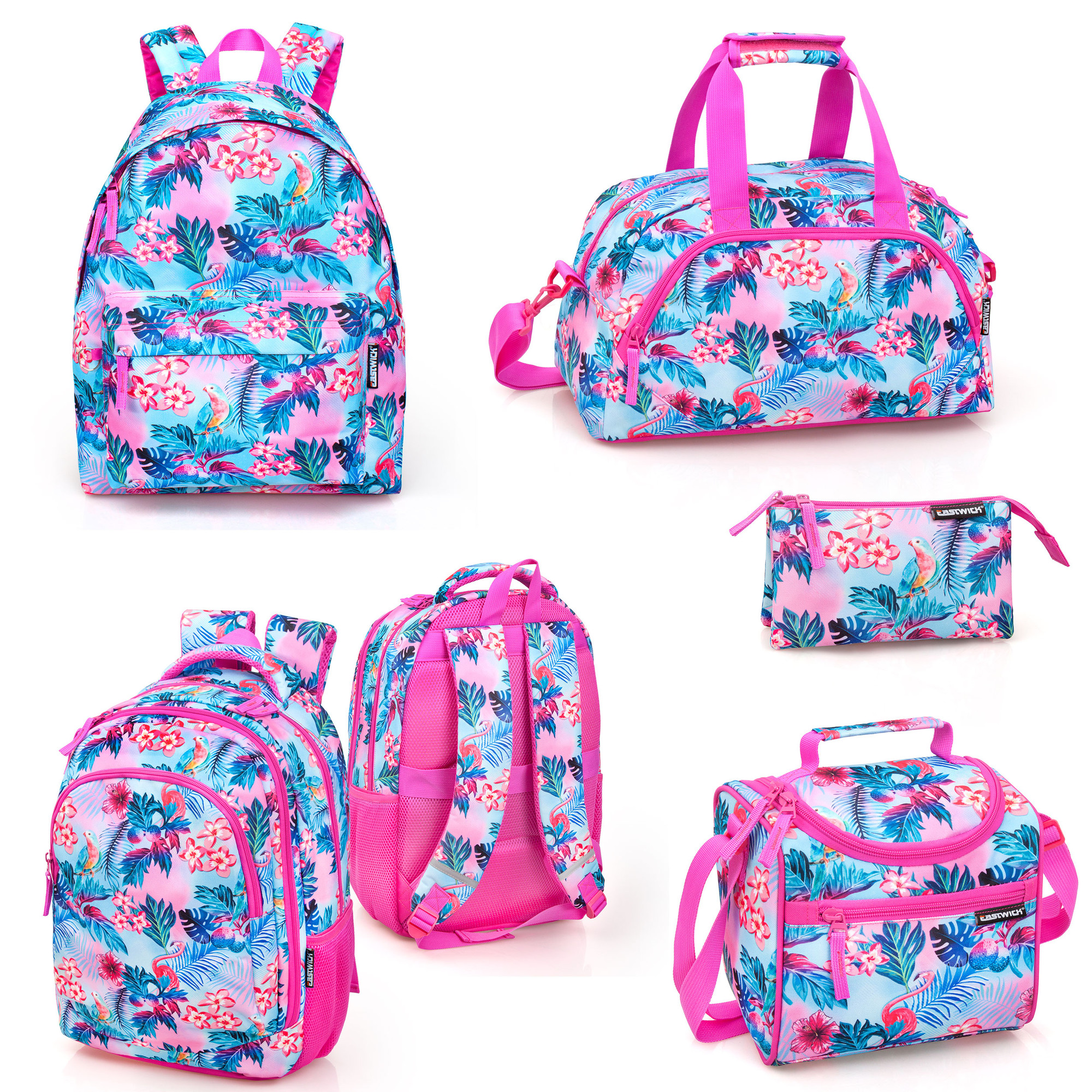 06ce5cb89cb Details about FLORAL Pink FLAMINGO Backpack Rucksack Cooler Lunch Travel  Bag Girls School Bag