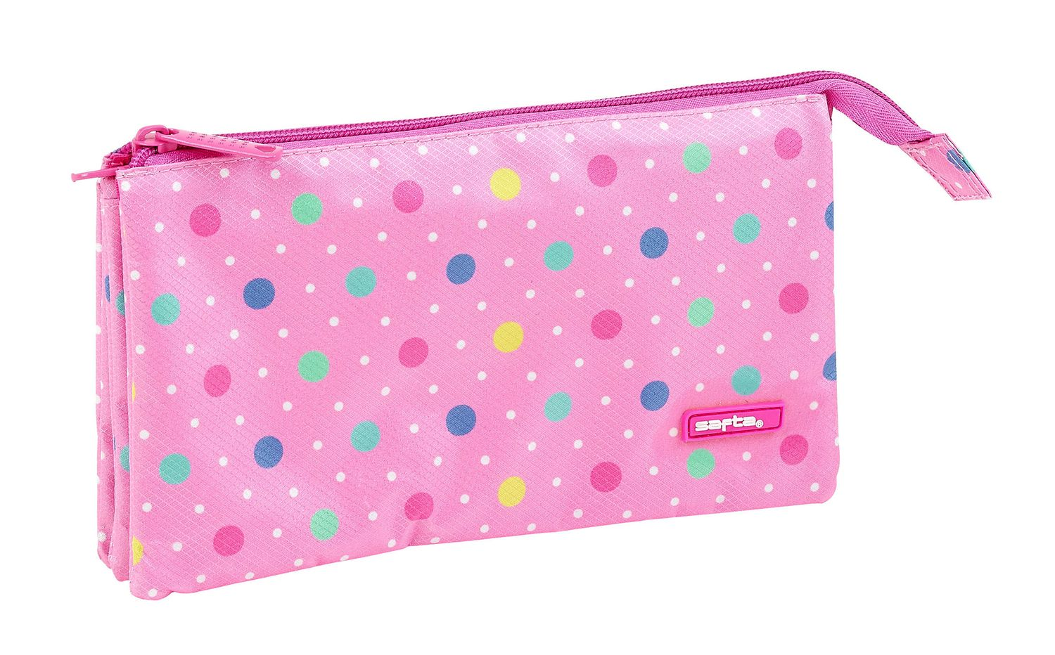 Triple Pencil Case Dots Pink – image 1