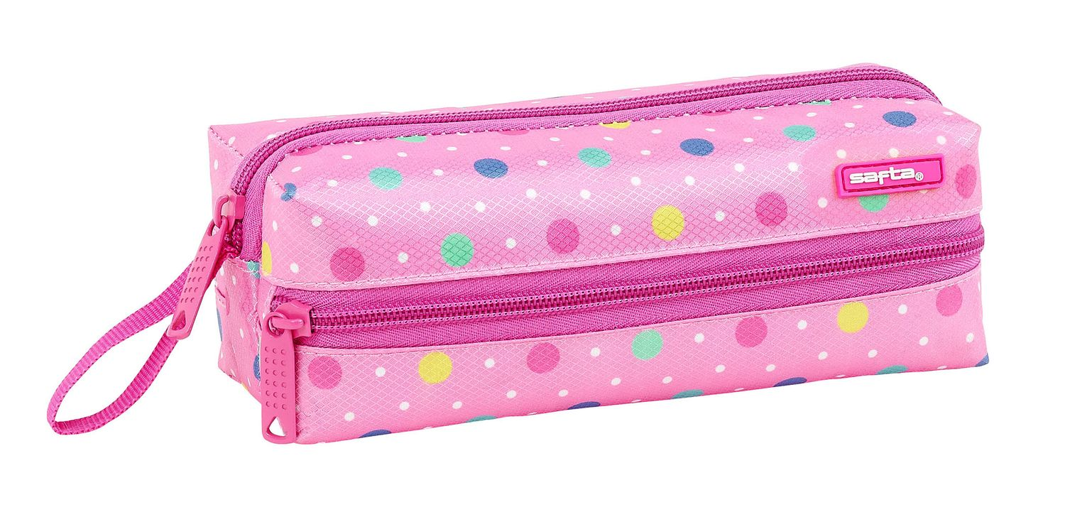Pencil Case With 3 Zippers Dots Pink