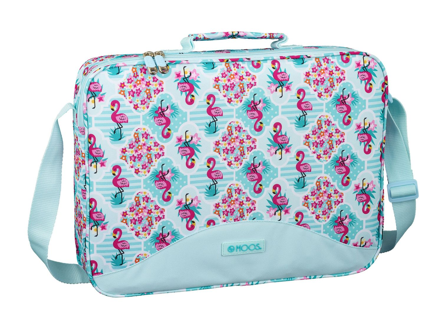 MOOS Flamingo Turquoise Briefcase Shoulder Bag 38cm – image 1