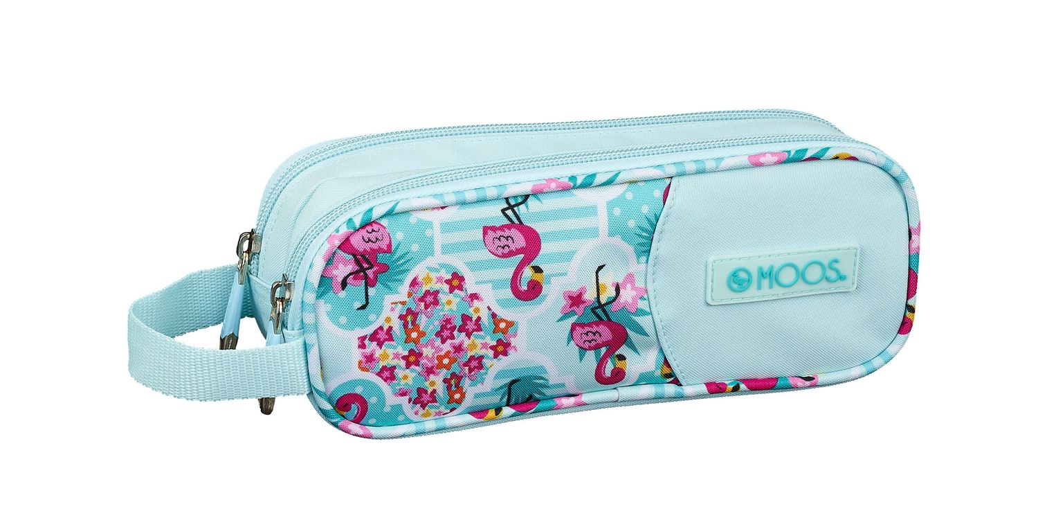 Double Pencil Case 21 cm MOOS Flamingo Turquoise – image 1
