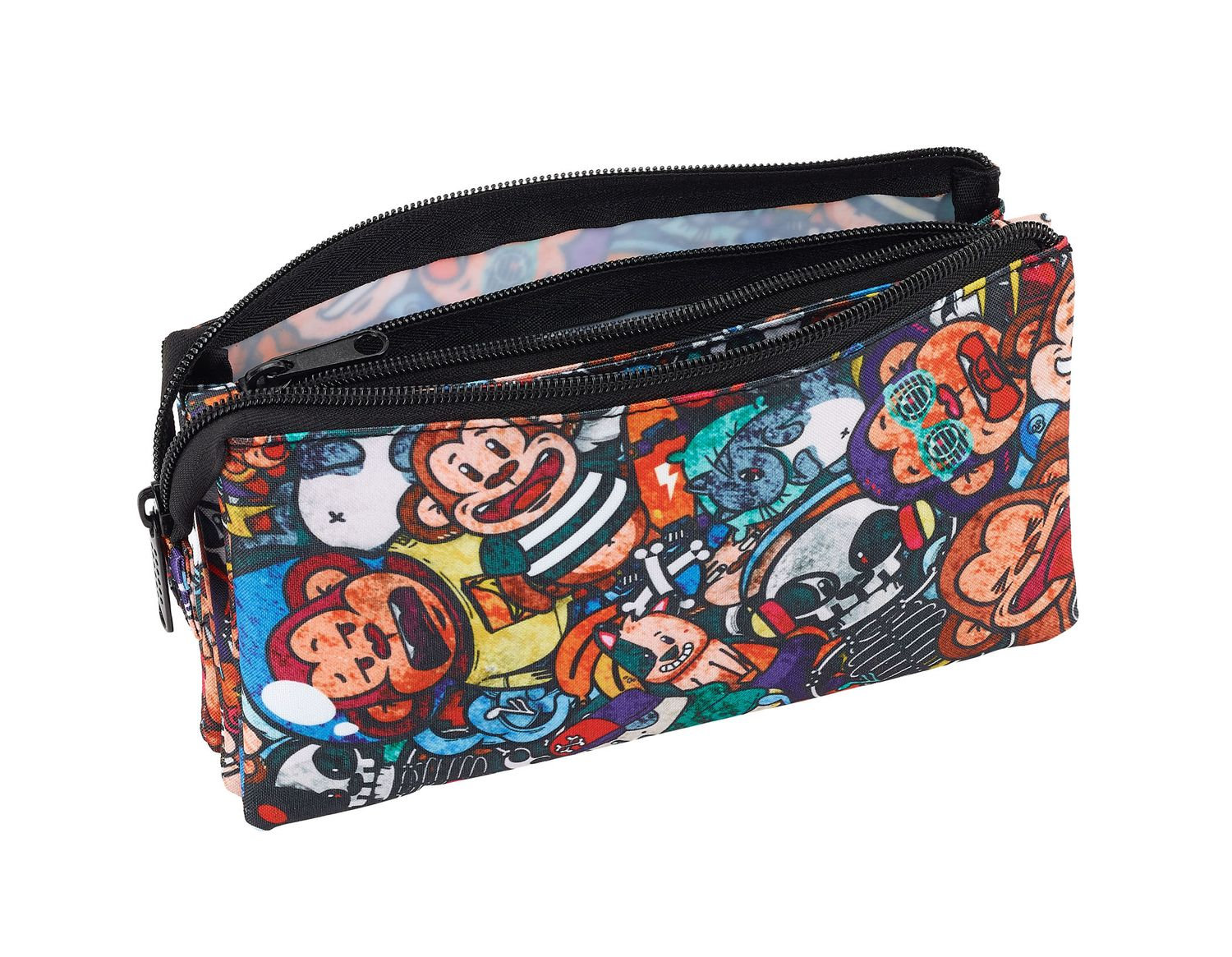 Triple Pencil Case Blackfit8 Monkey – image 2