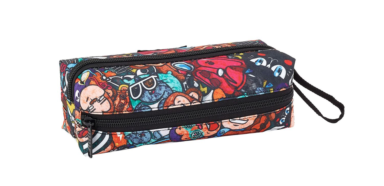 Pencil Case 3 Zip Blackfit8 Monkey – image 2